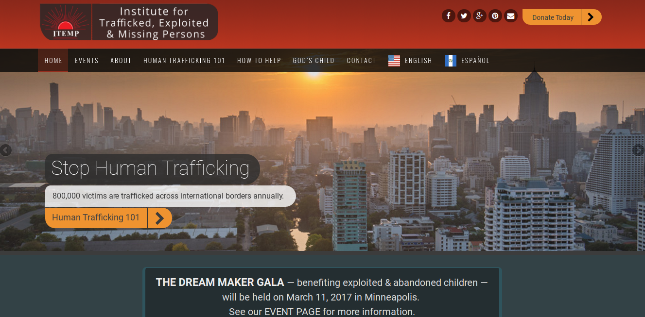Institute for Trafficked, Exploited & Missing Persons (ITEMP) WordPress charity website