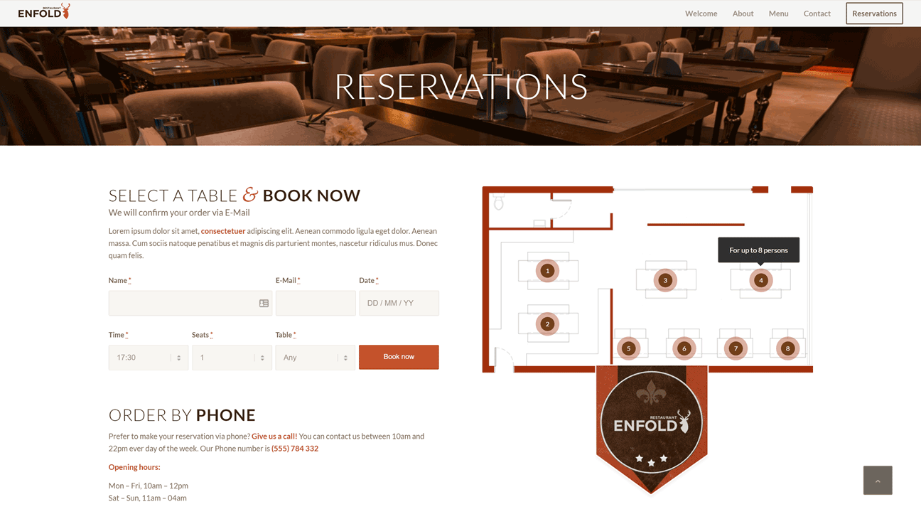 Enfold Restaurant Reservation Tool