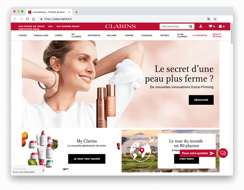 Clarins' French homepage showing caucasian woman