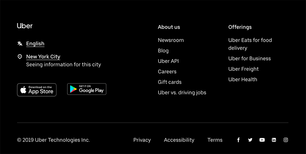 Screenshot of Uber homepage with option to choose preferred website language