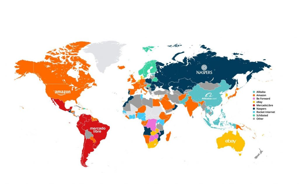 world map of most popular marketplace sites