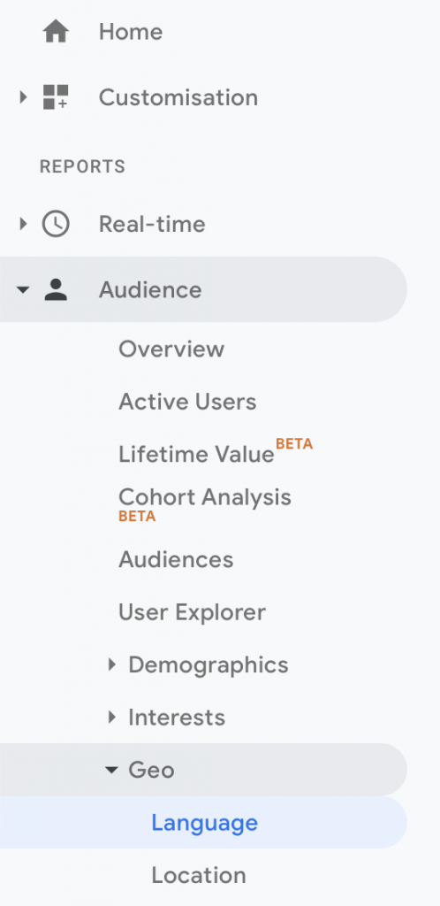 Screenshot of the different tabs and tools available in Google Analytics. The language button under the Geo tab is selected.