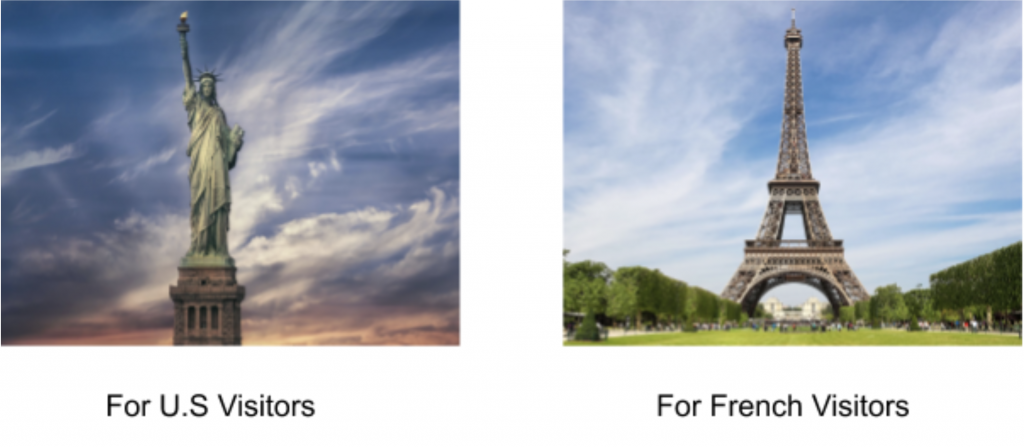 Image localization example for US visitors and French visitors