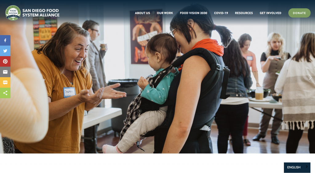 Multilingual Website Example: San Diego Food System Alliance Homepage