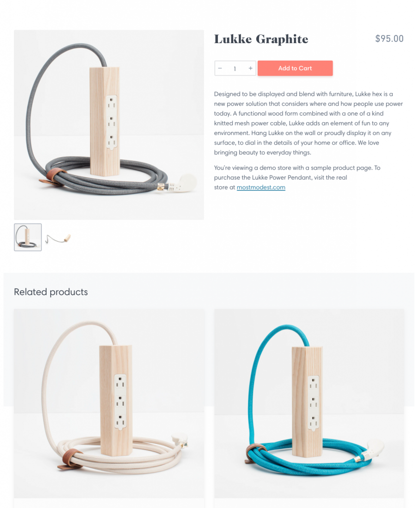 Shopify product page example
