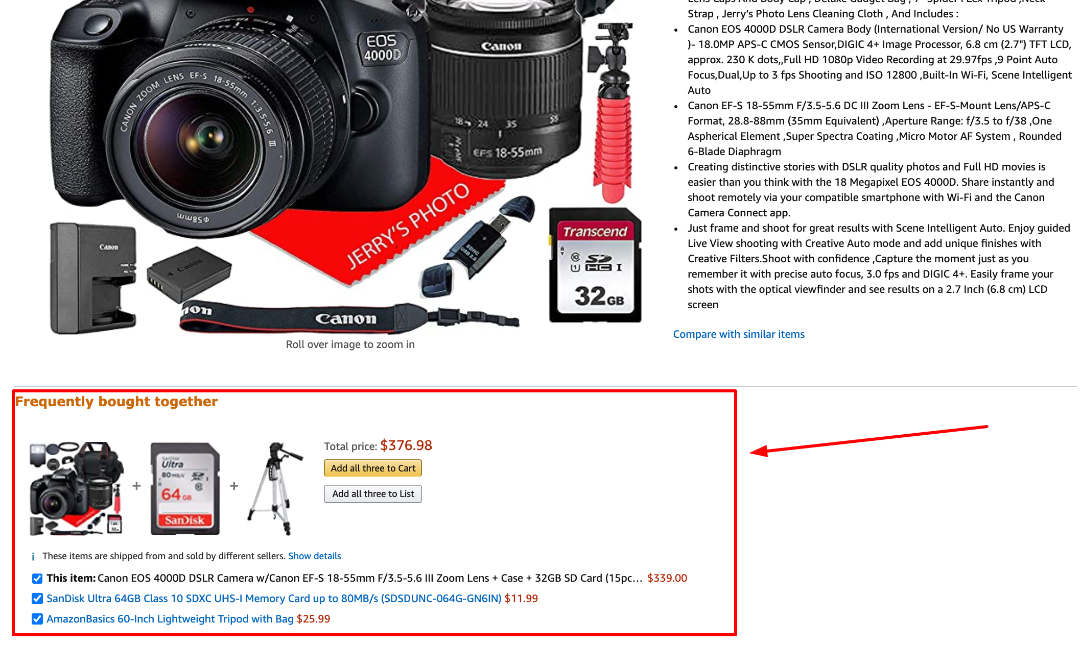Amazon product page upsell example
