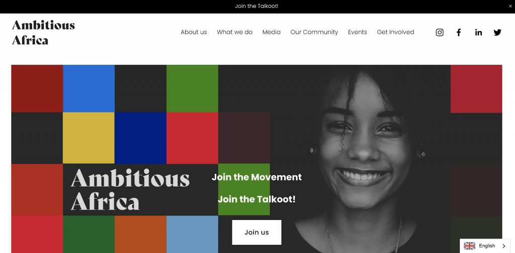 screenshot of the Ambitious Africa homepage
