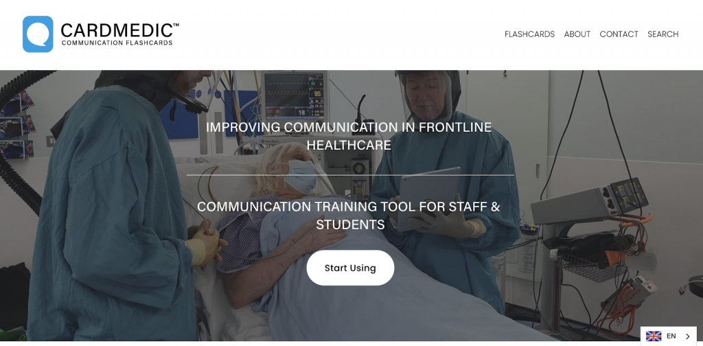 screenshot of cardmedic homepage