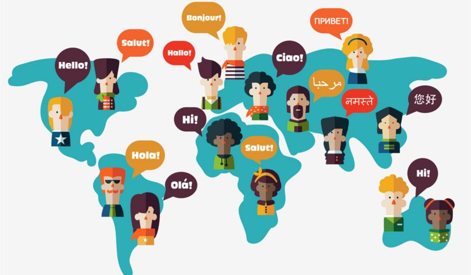 illustration of languages spoken in the world
