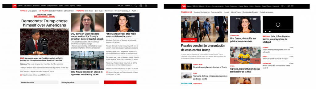 CNN homepage in English and Spanish