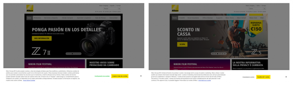 Nikon has different cookie policies in Spain and in Italy