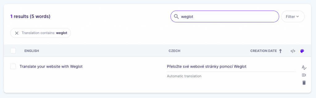 How to find automatic translations with a Weglot search