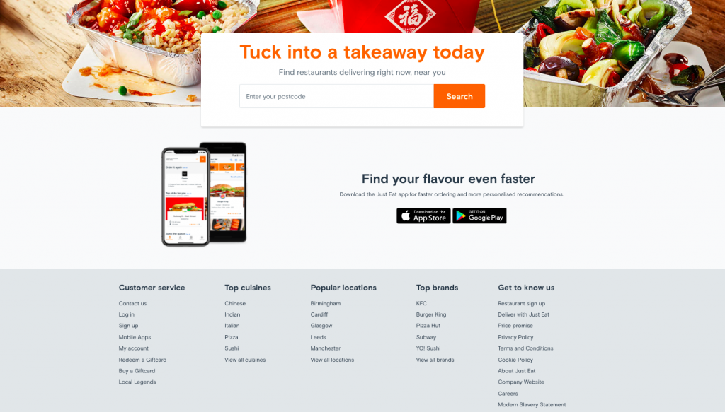 Just Eat's website for UK audiences