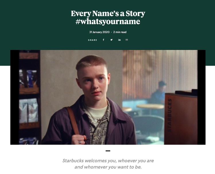 """Starbucks """"Every name is a story"""""""